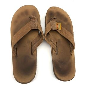 Classic Rainbow leather sandals brown